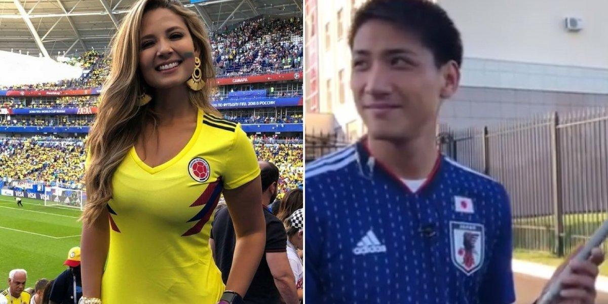 A reação de um jornalista japonês ao receber beijo na Copa do Mundo 2018
