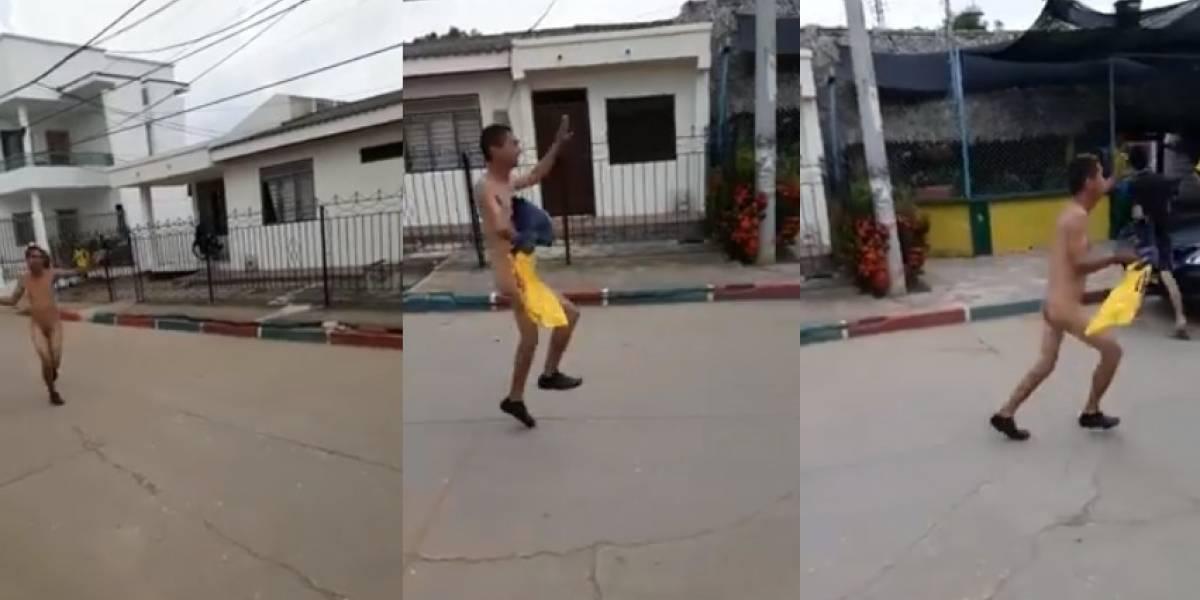 ¿Fue una apuesta?, hombre salió desnudo a celebrar el triunfo de la Selección Colombia