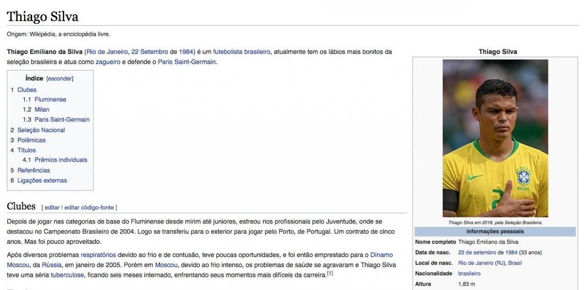Página da Wikipédia sobre Thiago Silva
