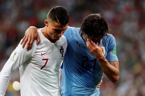 Noble gesto de Cristiano Ronaldo con Edinson Cavani
