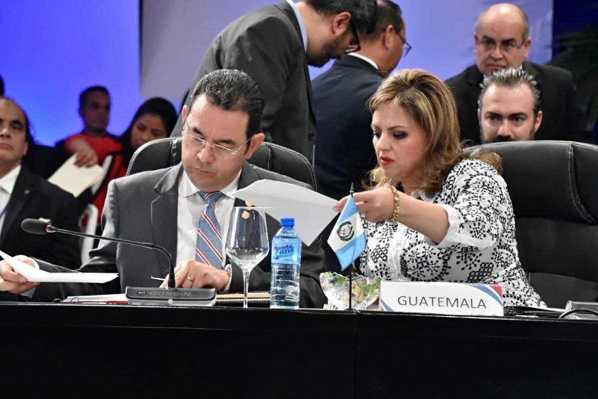 Sandra Jovel en la cumbre del SICA.