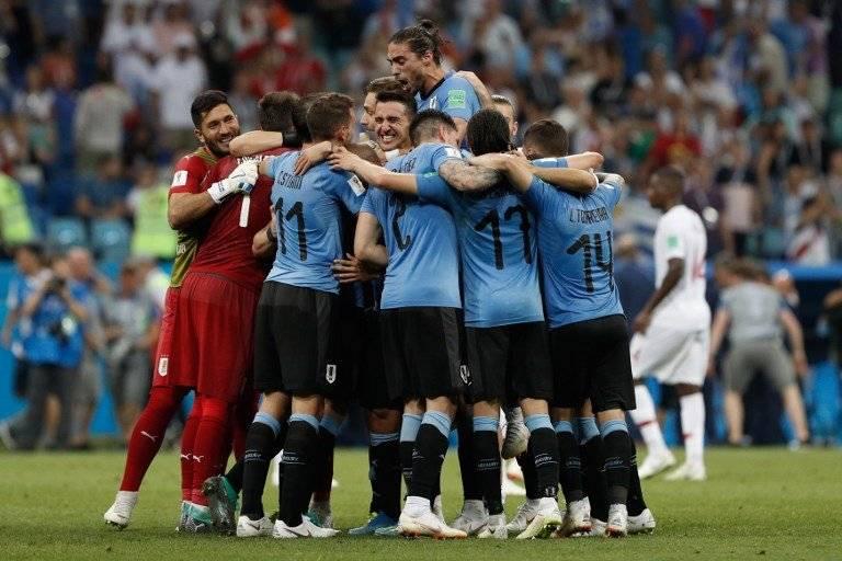 La celebración de los jugadores uruguayos al finalizar el partido