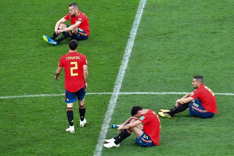 El desconsuelo en los jugadores españoles tras la eliminación fue evidente