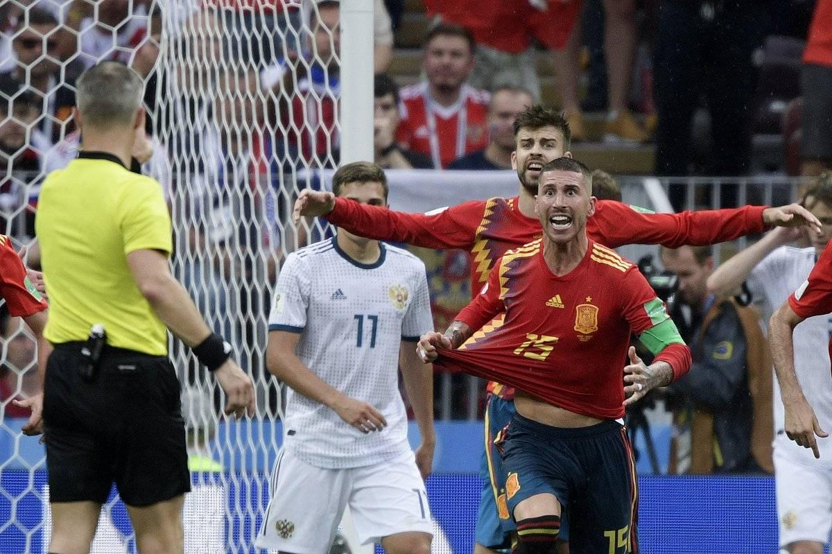 Sergio Ramos reclamó un penalti que no se marcó