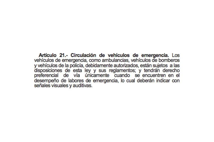 Artículo 21 de Ley de Tránsito