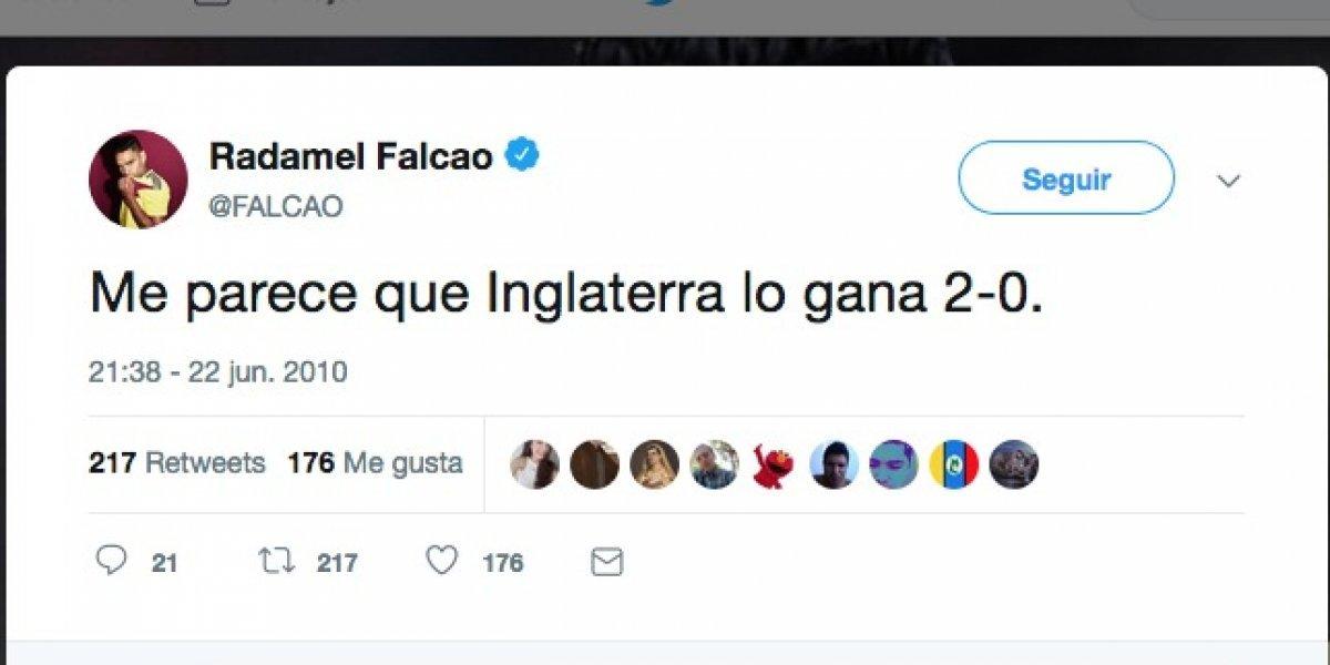El tuit de Falcao donde dice que gana Inglaterra y en el que muchos han caído
