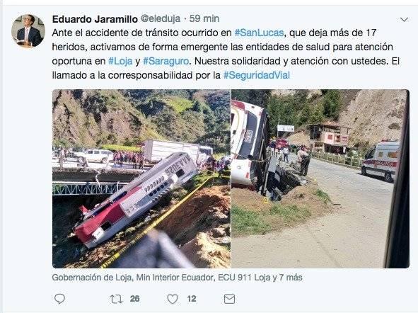 más de 17 heridos tras accidente en Loja