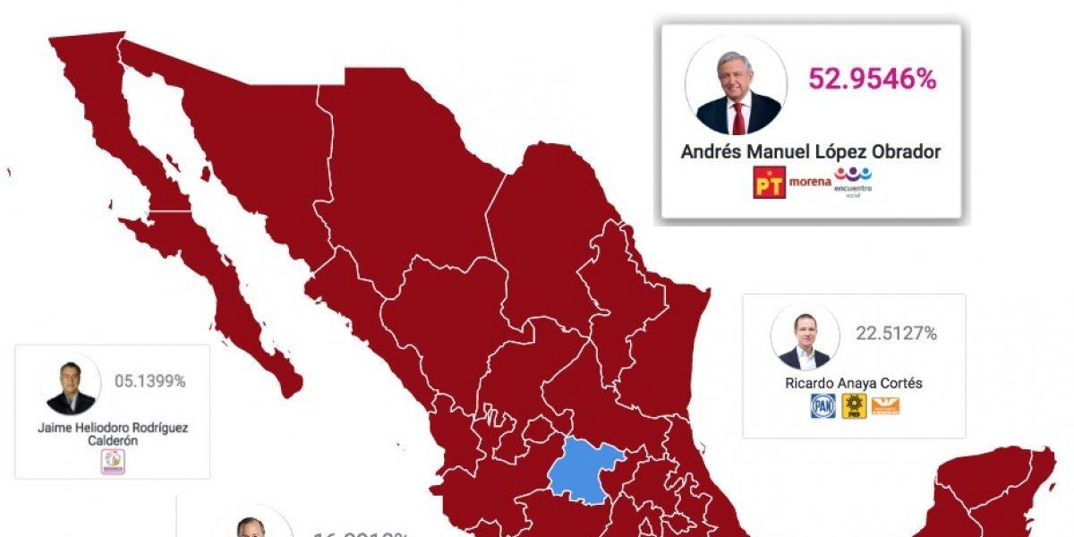 MAPA: AMLO gana en todas las entidades de la República, excepto Guanajuato