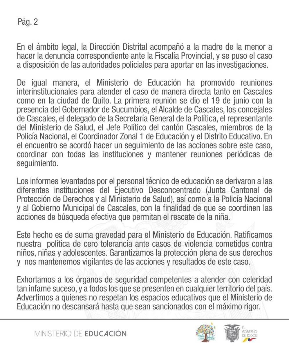 Comunicado del ministerio de Educación sobre niña que fue secuestrada en Sucumbíos Ministerio de educación