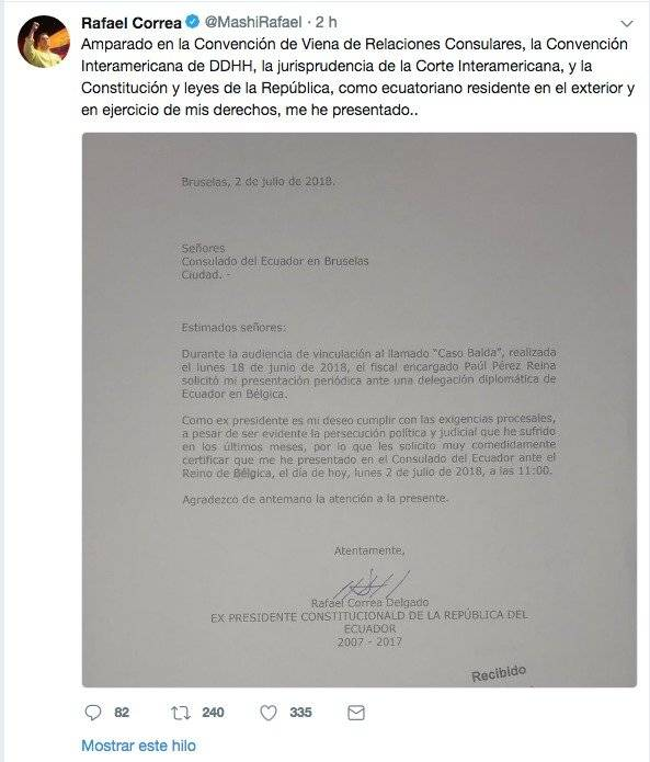 Rafael Correa se presentó en Bruelas Twitter