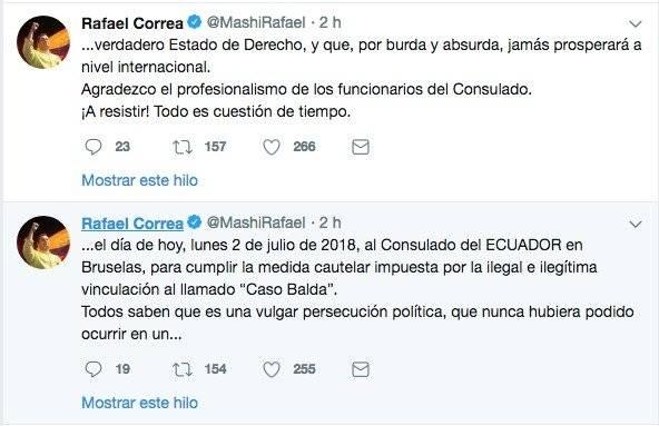 Rafael Correa se presentó en el consulado de Bruselas Twitter