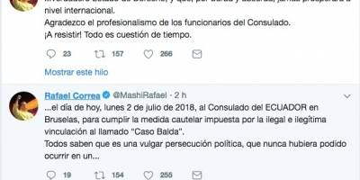 Rafael Correa se presentó en el consulado de Bruselas