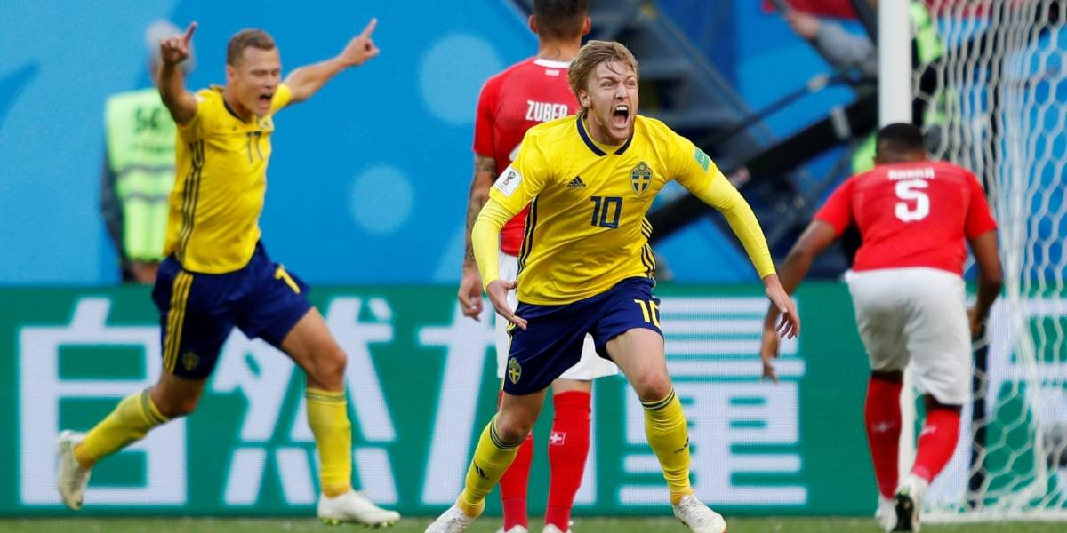 Suécia vence a Suíça e está nas quartas da Copa do Mundo