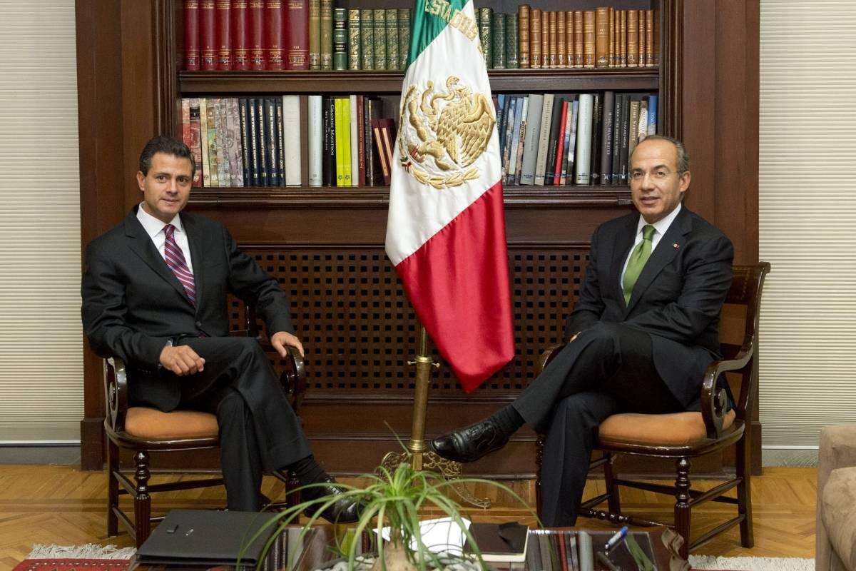 Felipe Calderón y Enrique Peña Nieto en julio de 2012 Foto: Cuartoscuro