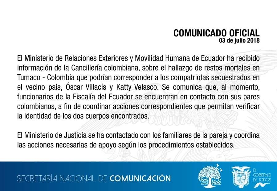 Cuerpos hallados en Tumaco son de pareja ecuatoriana secuestrada por 'Guacho'