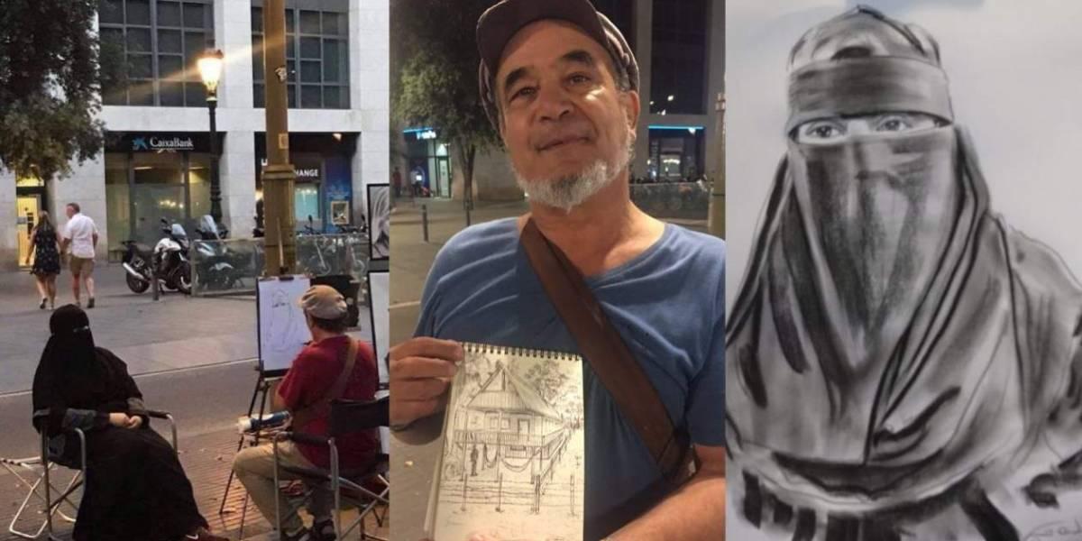 Este es el artista colombiano que se hizo viral al retratar a mujer con niqab en España