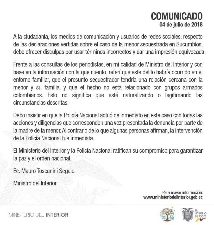 Mauro Toscanini pidió disculpas por términos incorrectos en caso de niña secuestrada en Sucumbíos