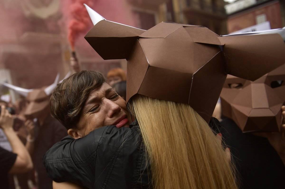 Protesta en Pamplona contra los San Fermines Foto: AP