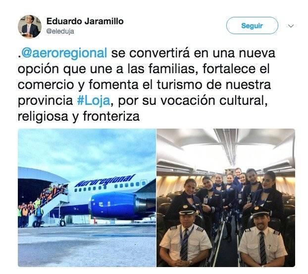 Aeroregional prestará servicio de vuelos en la ruta Quito – Loja