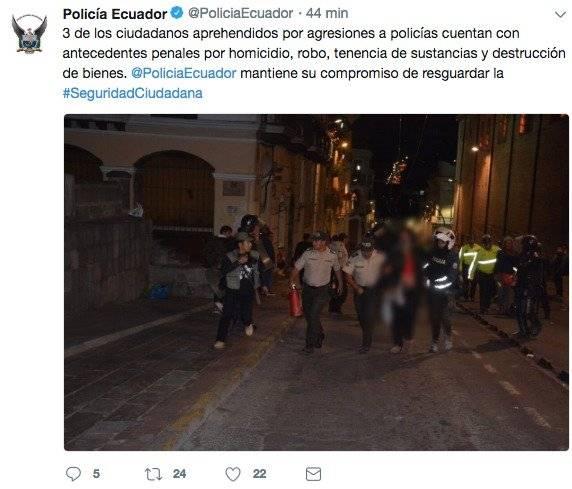 Ocho policías con contusiones 11 ciudadanos aprehendidos tras marcha en apoyo a Rafael Correa Twitter Policía Ecuador