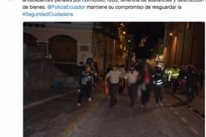 Ocho policías con contusiones 11 ciudadanos aprehendidos tras marcha en apoyo a Rafael Correa
