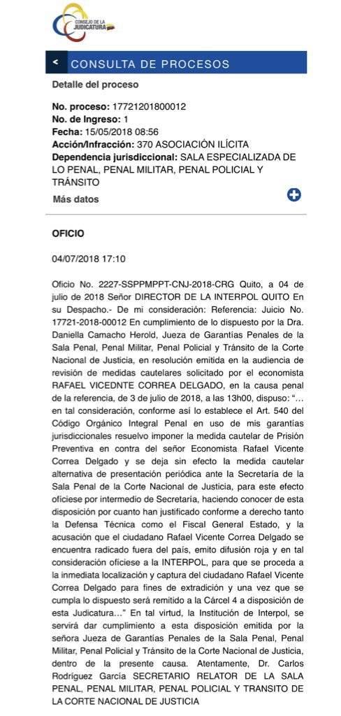 Corte solicita a la Interpol captura a Rafael Correa