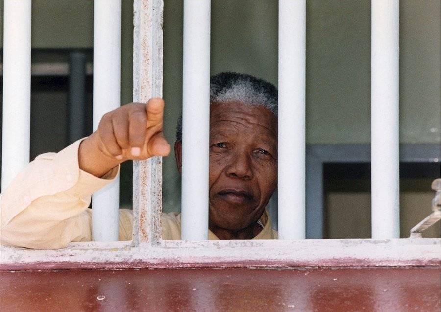 Nelson Mandela en la celda 7 de la cárcel Kroonstad