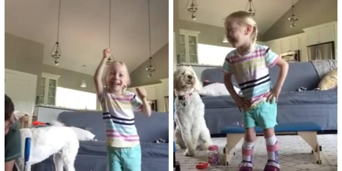 El maravilloso momento en el que niña con parálisis cerebral da sus primeros pasos