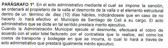 Parágrafo 1, artículo 110 del acuerdo 0436 del 2017.