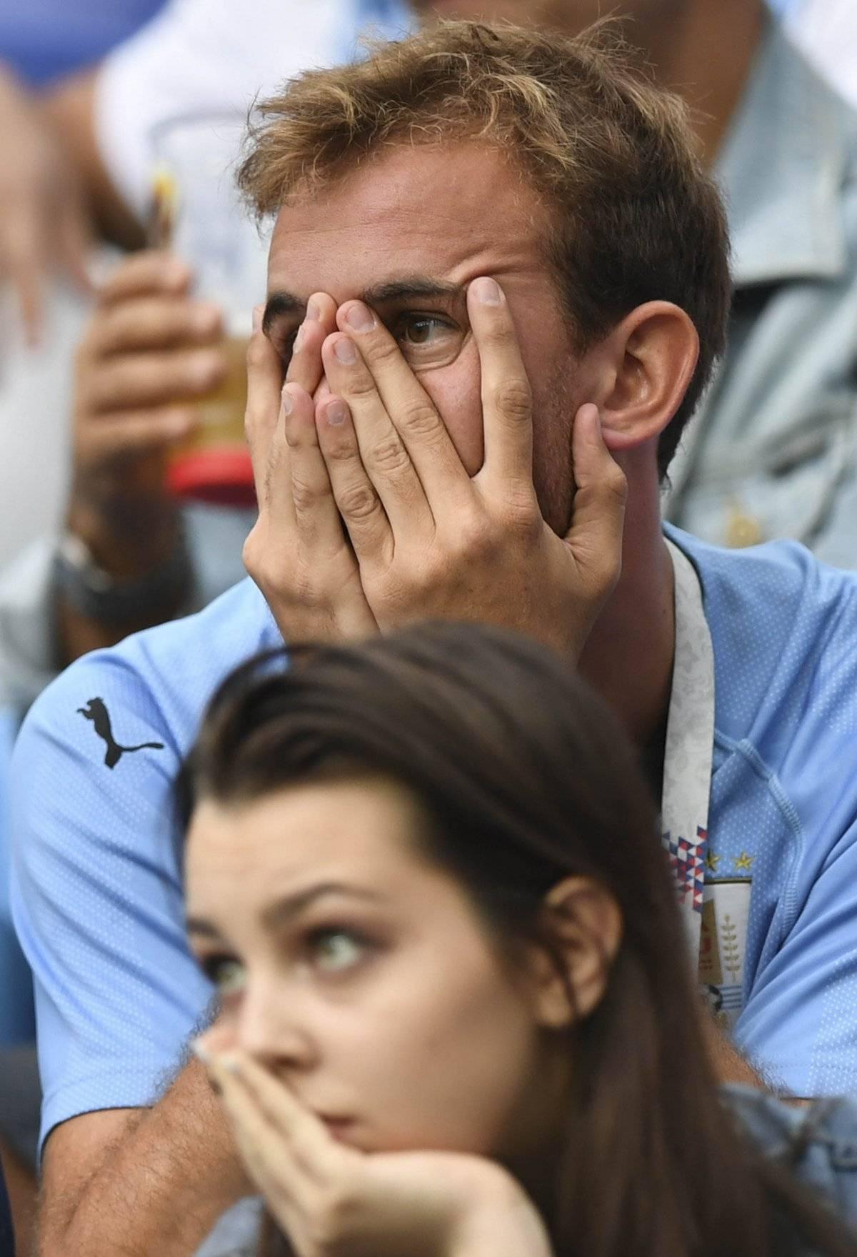 Aficionados uruguayos lamentaron la eliminación de Uruguay.