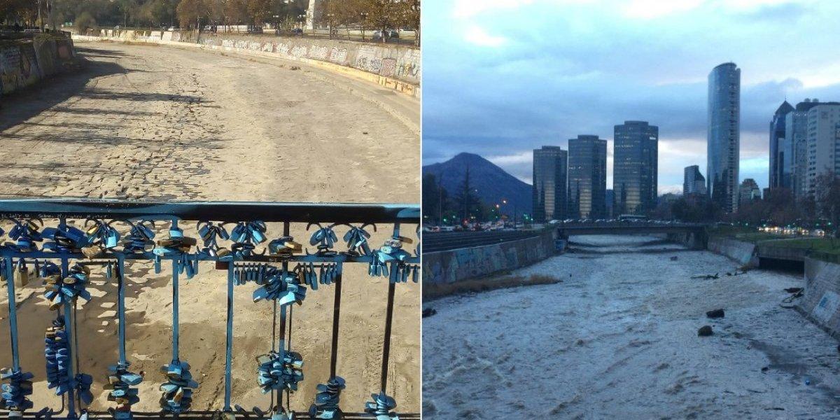 Así amaneció el Mapocho tras la lluvia: imágenes revelan la impactante diferencia en el caudal del río en menos de dos meses