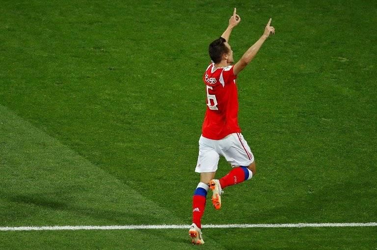 Cheryshev celebra su cuarto tanto en el Mundial.