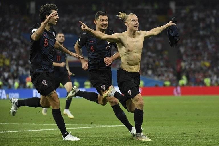 Domagoj Vida celebra el segundo tanto de Croacia