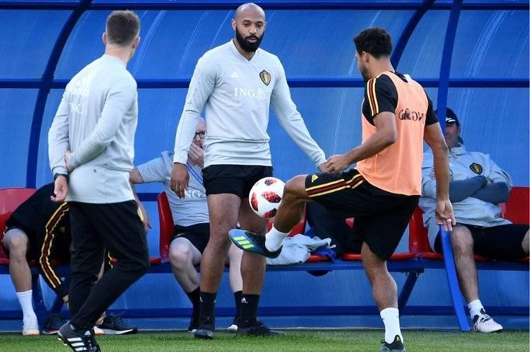 Henry durante un entreno de la selección belga