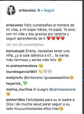 Erika Vélez publica fotos de su infancia en su cuenta de Instagram