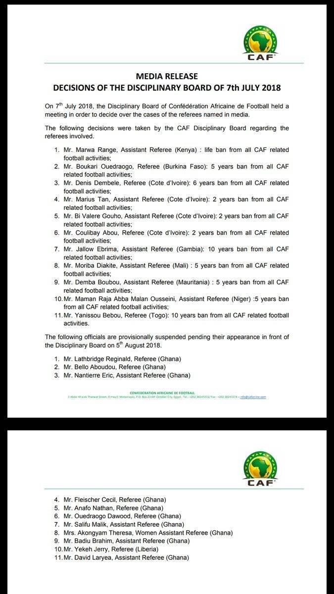 La CAF anunció la suspensión por medio de un comunicado.