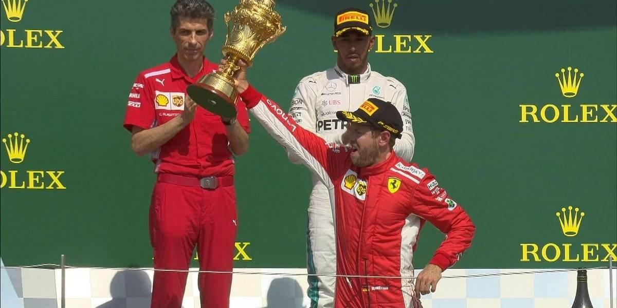 Vettel se corona en Gran Bretaña; 'Checo Pérez lugar 11