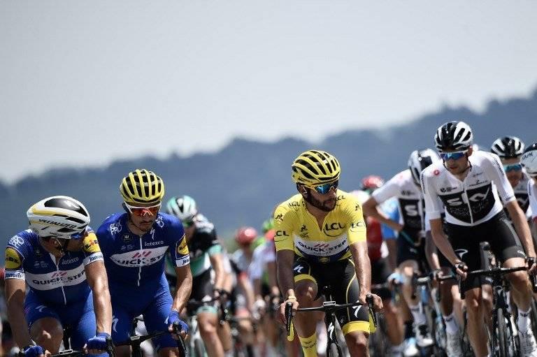 Gaviria cuando todavía era el líder del Tour en la segunda etapa