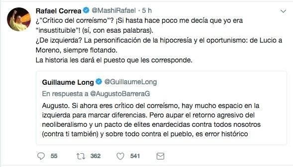 Tuit de Rafael Correa en respuesta a Augusto Barrera Twitter