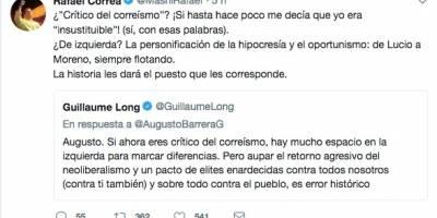 Tuit de Rafael Correa en respuesta a Augusto Barrera