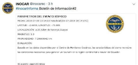 Sismo de 5.2 en Guayas