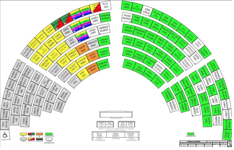 Se redistribuyó el grupo de Alianza País en el pleno de la Asamblea