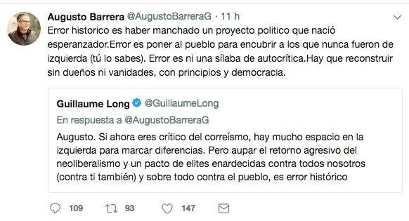 Tuit de Augusto Barrera y Guillermo Long