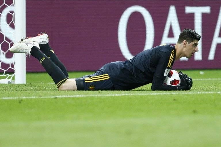 Courtois en una práctica de Bélgica en el Mundial