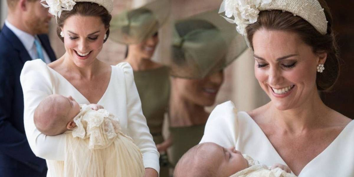 Radiante: Kate Middleton usou vestido de Alexander McQueen no batismo de príncipe Louis