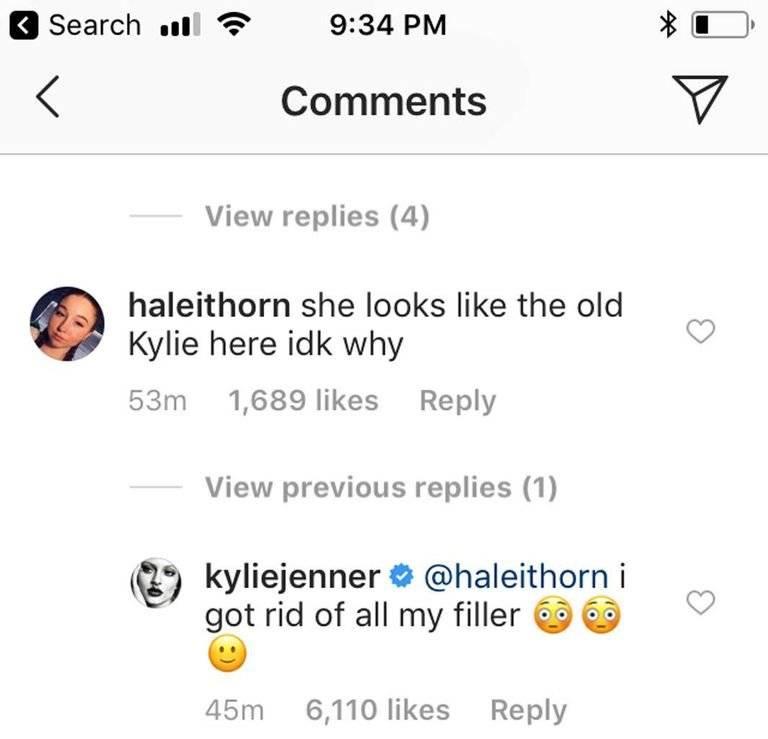 Kylie Jenner respuesta