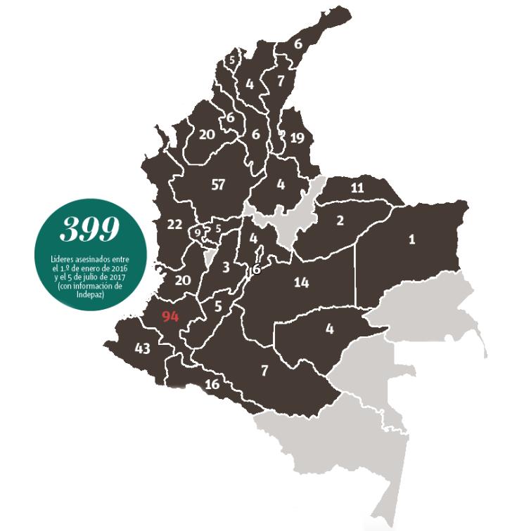 Mapa líderes sociales asesinados