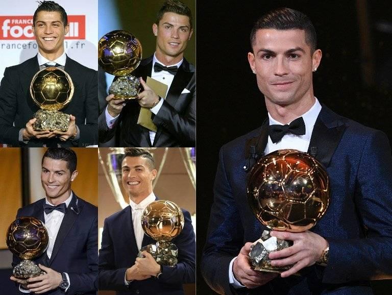 Varios de los Balones de Oro conseguidos por Cristiano