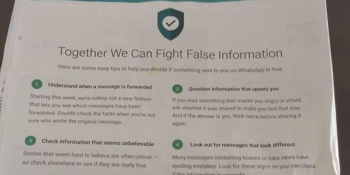 WhatsApp publica anuncio a página completa en diario de India para combatir noticias falsas