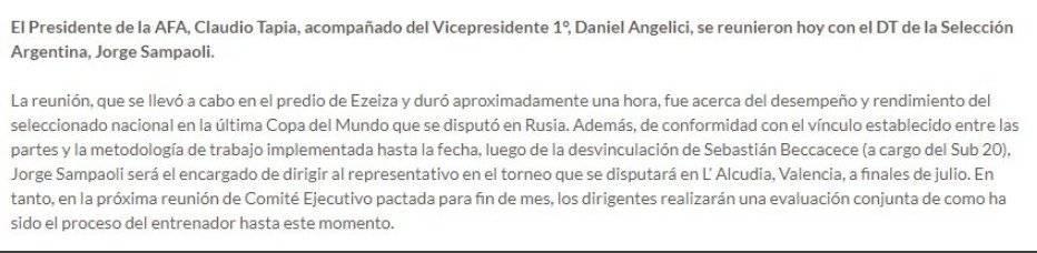 Confirmación de la continuidad de Jorge Sampaoli